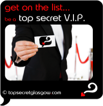 Top Secret Quote Bubble in black, with male spy in black tuxedo holding membership card