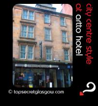Top Secret Glasgow Quote Bubble showing hotel exterior. Caption: city centre style