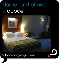 Top Secret Glasgow Quote Bubble showing interior, mid-range bedroom.