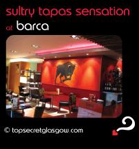 Top Secret Glasgow Quote Bubble showing lovely interior design. Caption: sultry tapas sensation