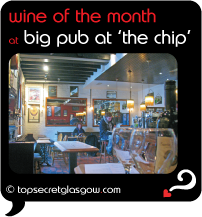 Top Secret Glasgow lozenge showing interior of bar area during day. Caption: wine of the month