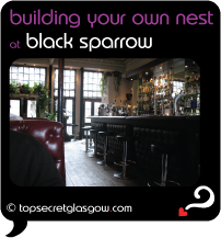 Top Secret Glasgow Quote Bubble showing length of shining bar. Caption: building your own nest