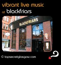 Top Secret Glasgow Quote Bubble with exterior photo of the venue. Caption: vibrant live music