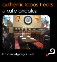 Top Secret Glasgow Quote Bubble showing cosy interior decor. Caption: authentic tapas treats