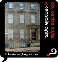 Top Secret Glasgow lozenge showing exterior from across street. Caption: city centre style