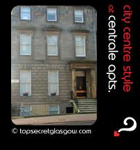 Top Secret Glasgow lozenge showing exterior from across street. Caption: city centre style