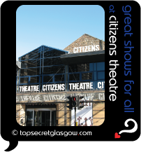 Top Secret Glasgow Quote Bubble showing theatre building in sun.