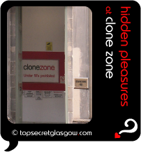 Top Secret Quote Bubble in black, with photo of recessed doorway with  clone zone sign.  Caption: