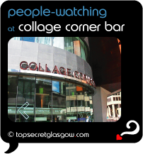 Top Secret Quote Bubble in black, with photo of exterior of collage corner bar, reflections of busy junction picked up colourfully in curving windows.  Caption in blue: