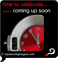 Top Secret Quote Bubble in black, silver stop-watch with red face