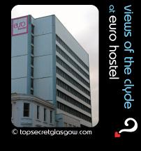 Top Secret Glasgow Quote Bubble showing exterior of building. Caption: views of the clyde