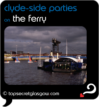 Top Secret Glasgow lozenge showing Ferry on Clyde with stormy sky and Crane in background. Caption: clyde-side parties