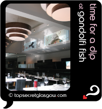 Top Secret Glasgow Quote Bubble showing chic interior dining room. Caption: time for a dip