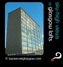 Top Secret Glasgow lozenge showing building in sun. Caption: sky-high views