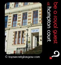 Top Secret Glasgow lozenge showing exterior on sun. Caption: be a royal guest