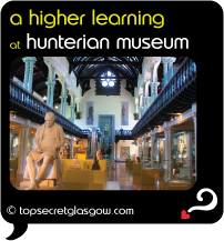 Top Secret Glasgow Quote Bubble showing main exhibit hall interior. Caption: a higher learning