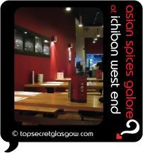 Top Secret Glasgow Quote Bubble showing cool interior dining room. Caption: asian spices galore