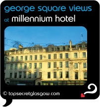 Top Secret Glasgow Quote Bubble showing exterior on George Square, in winter sun. Caption: george square views