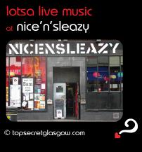 Top Secret Glasgow Quote Bubble showing exterior. Caption: lotsa live music