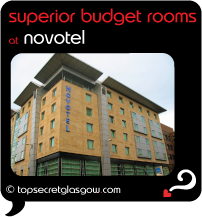 Top Secret Glasgow Quote Bubble showing hotel exterior. Caption: superior budget rooms