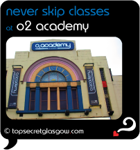 black speech bubble with front exterior, caption: never skip classes