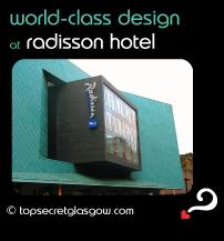 Top Secret Glasgow Quote Bubble showing unusual exterior of front facade. Caption: world-class design