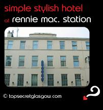 Top Secret Glasgow lozenge showing exterior in sun. Caption: simple stylish hotel