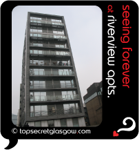 Top Secret Glasgow lozenge showing tower facade from front. Caption: seeing forever