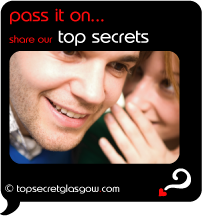 Top Secret Quote Bubble in black, with smiling girl whispering in boy's ear.