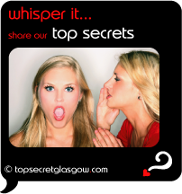 Top Secret Quote Bubble in black, with sexy woman whispering in shocked friend's ear.