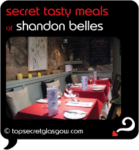 Top Secret Glasgow Quote Bubble showing dining room interior. Caption: secret tasty meals