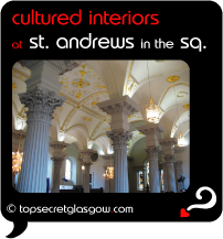 Top Secret Quote Bubble in black, with photo of pillars and vaulted roof, inside. Caption: 'cultured interiors'