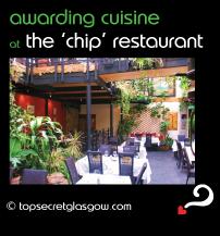 Top Secret Glasgow Quote Bubble showing beautiful interior dining room. Caption: awarding cuisine