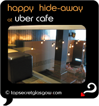 Top Secret Quote Bubble in black, with photo of lower level of bar, from mezzanine level. Caption: 'happy hideaway'