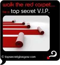 Top Secret Quote Bubble in black, with red carpets unfurling across glossy white floor