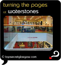 Top Secret Quote Bubble in black, with photo of central atrium, internal image. Caption: 'turning the pages'