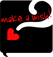 black quote bubble with TS logo and words 'make a wish!' handwritten in red