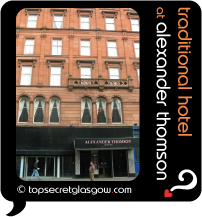 Top Secret Glasgow lozenge showing exterior. Caption: traditional hotel