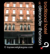 Top Secret Glasgow lozenge showing exterior. Caption: traditional hotel