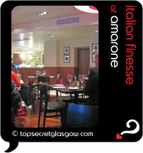 Top Secret Glasgow Quote Bubble showing dining room interior. Caption: italian finesse