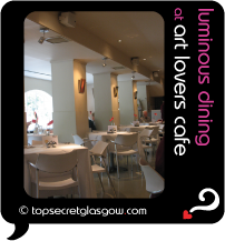 Top Secret Glasgow Quote Bubble showing beautiful dining room. Caption: luminous dining