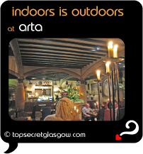 Top Secret Quote Bubble in black, with photo of interior of arta - a Spanish courtyard.  Caption: 'indoors is outdoors'