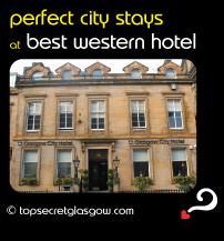 Top Secret Glasgow lozenge showing exterior. Caption: perfect city stays