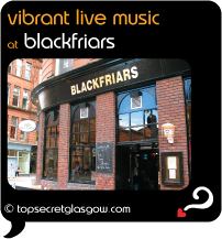 Top Secret Glasgow Quote Bubble with exterior photo of the venue.