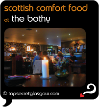 Top Secret Glasgow Quote Bubble showing cosy interior dining room. Caption: scottish comfort food