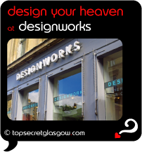 Top Secret Quote Bubble in black, with photo of windows and logo from outside. Caption: 'design your heaven'