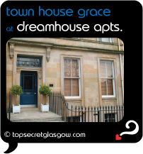 Top Secret  Glasgow lozenge showing main entrance. Caption: town house grace