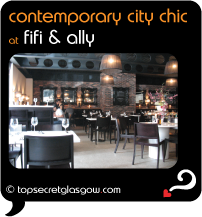 Top Secret Glasgow Quote Bubble showing gorgeous dining room interior. Caption: contemporary city chic