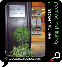 Top Secret Glasgow lozenge showing foyer and entrance. Caption: pampered living