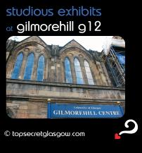 Top Secret Glasgow Bubble Quote showing exterior of building. Caption: studious exhibits